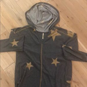 Tops - Grey and Gold Star Hooded Tunic.